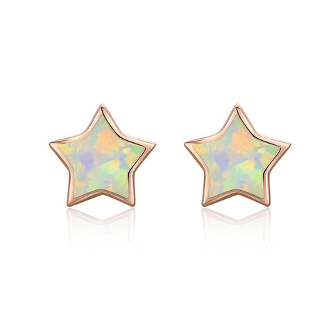 25 Sterling Silver Rose Gold Plated Opal Star Stud Earring