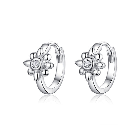 925 Sterling Silver  Zircon White  Flower Hoop Earrings