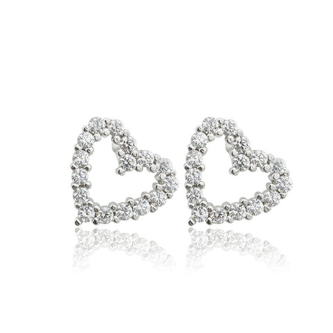 S925 Sterling Silver Big Cz Heart Stud Earrings For Women