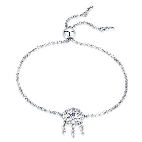 925 Silver Adjustable Dreamcatcher Charm Bracelet Gift for Women