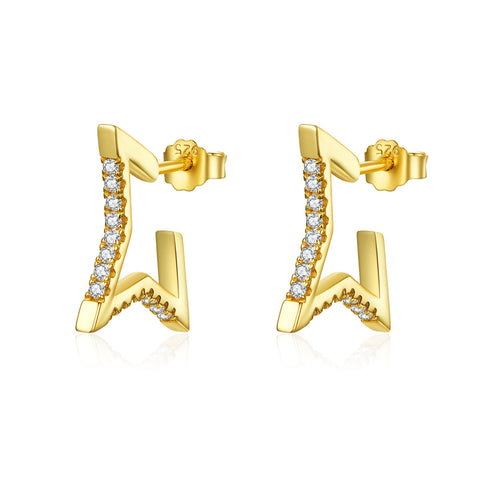925 Sterling Silver Plated Gold  Struggle Of Life  Stud Earrings