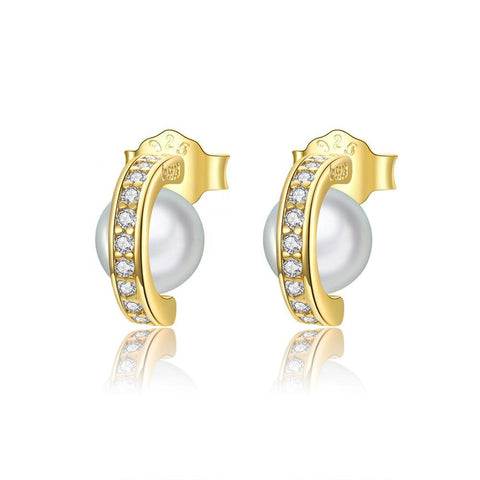 925 Sterling Silver Unique Small Pearl Gold Plated Stud Earrings