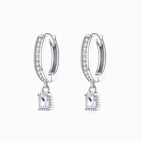 925 Sterling Silver  Dazzling CZ Ear Clip Earrings Love Hoop Earrings  Birthday Gift for Woman Girls and Lover