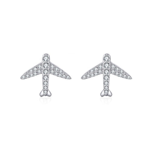 925 Sterling Silver Cubic Zirconia Airplanes Stud Earrings for Women