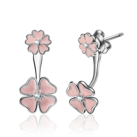S925 Sterling Silver Flower Clover Big Cz Jackets Earrings Jewelry Set For Women