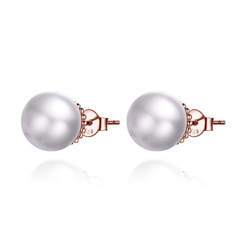 925 Sterling Silver Plated Rose Gold White Pearl Stud Earrings