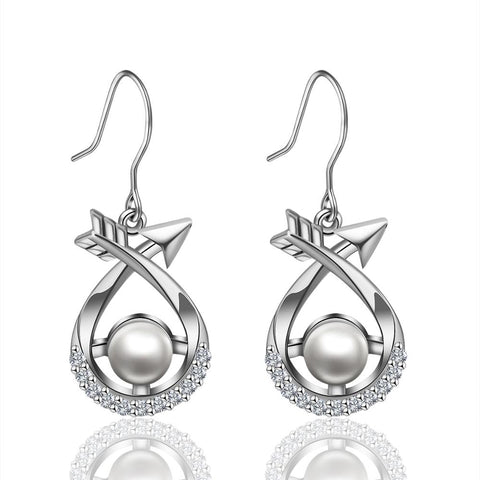 925 Sterling Silver Round Pearl Big Drop Earrings Jewelry Set For Women