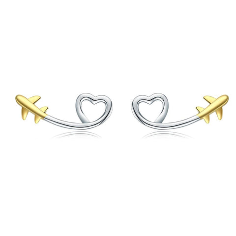 925 Sterling Silver Gold Plated Plane Heart Fly to Love Stud Earrings Gift for Women