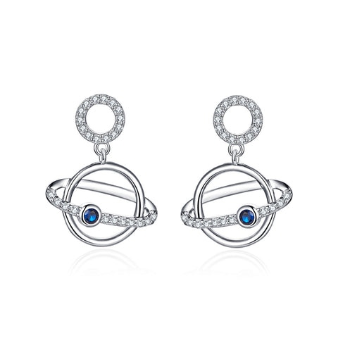 925 Sterling Silver  Planet  Space Stud Earrings