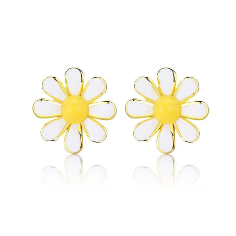 925 Sterling Silver Yellow Sunflower  Stud Clip-on Earrings Daisy Stud Earrings for Woman