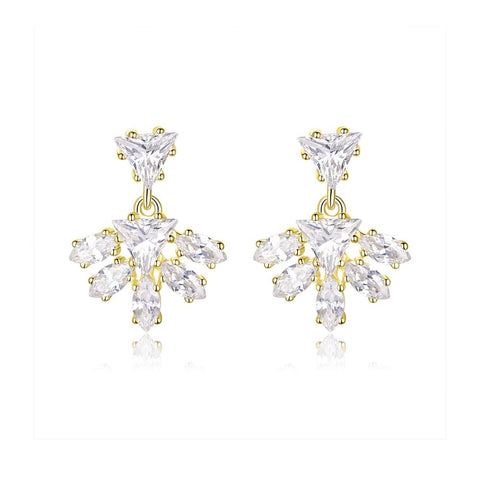 925 Sterling Silver Gold Plated Stud Earring for Women