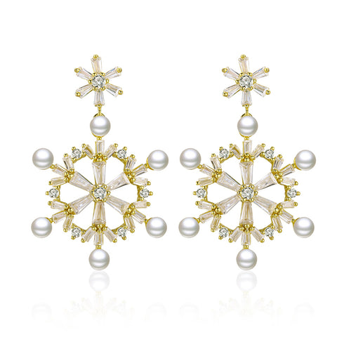 925 Sterling Silver Plated Gold Wholesale Snowflake Pearl Stud Earrings
