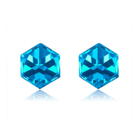 925 Sterling Silver With Austrian  Blue Crystal Stud Earring  for Women