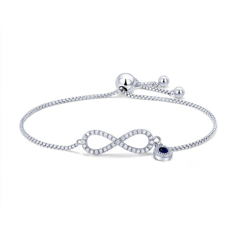 925 sterling  Silver infinity Endless Love Lucky 8 Symbol Charm Adjustable Bracelets