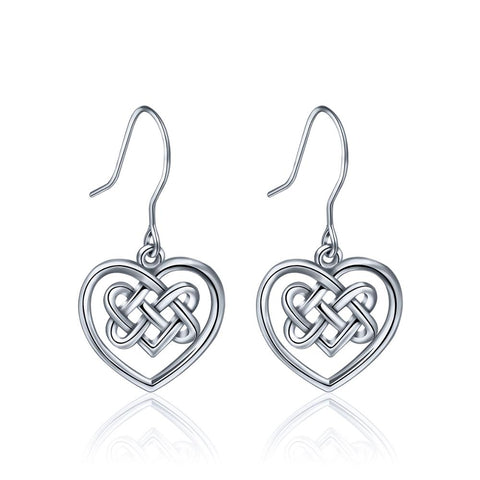 925 Sterling Silver Accessories Bling Heart Knot Earrings Jewelry Set For Women