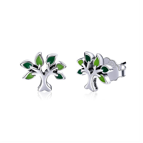 S925 Sterling Silver  Tree Of Life Stud Earrings