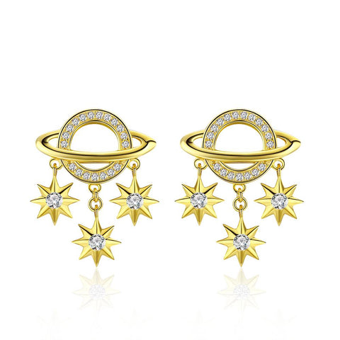 925 Sterling Silver Plated Gold  Star Stud Earrings