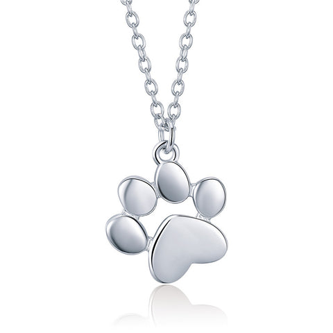 S925 Sterling Silver Pet's Footprint Necklace For Girls