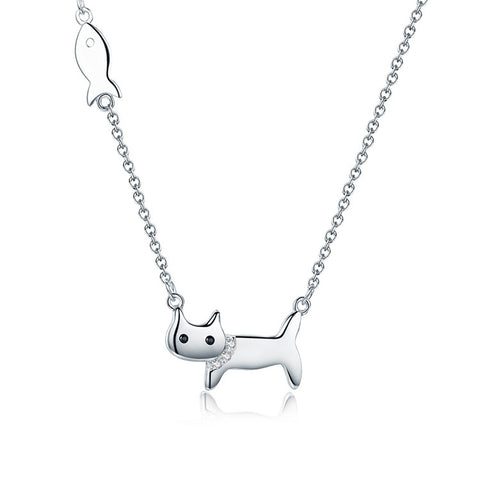 S925 Sterling Silver Fish Cat  Pendant Necklace