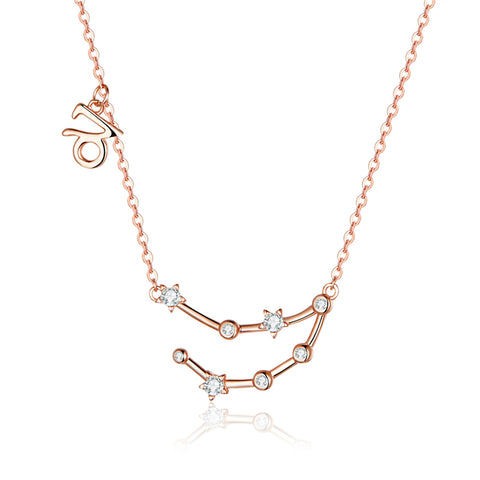 925 Sterling Silver Capricorn  Rose Gold Plated Necklace