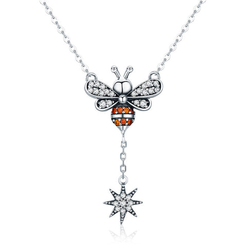 925 Sterling Silver  Fashion Bee Pendant Necklace