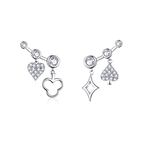 925 Sterling Silver Poker Heart Crawlers Earrings