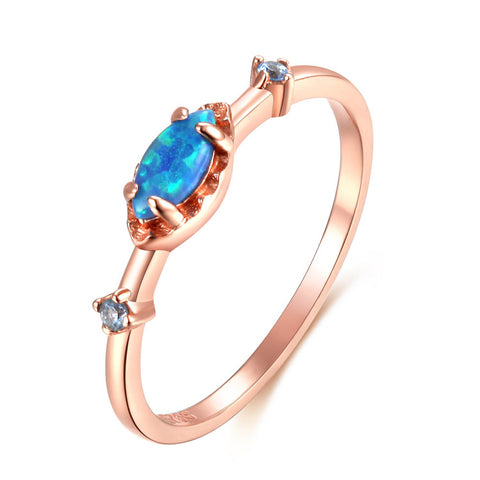 925 Sterling Silver Rose gold Plating Blue Opal Ring