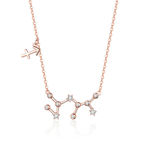 925 Sterling Silver Rose Gold Plated Sagittarius Necklace