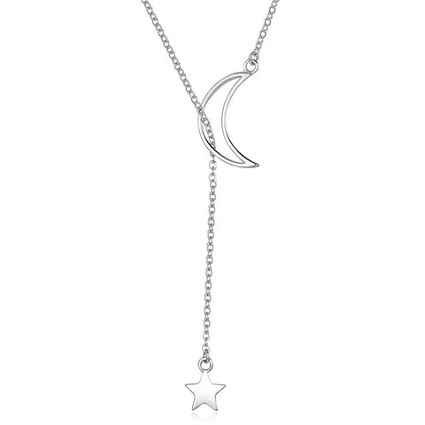 925 Sterling Silver Moon And Star Necklace   For Girls