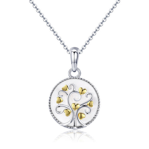 925 Sterling Silver Plated Gold Tree Of Life Necklace With Nacre