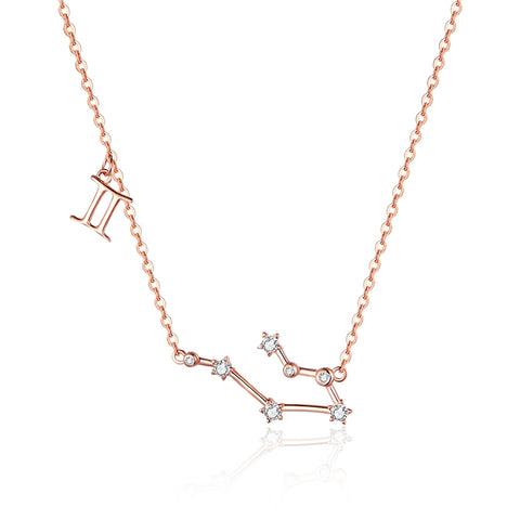 925 Sterling Silver Rose Gold Plated Gemini Necklace