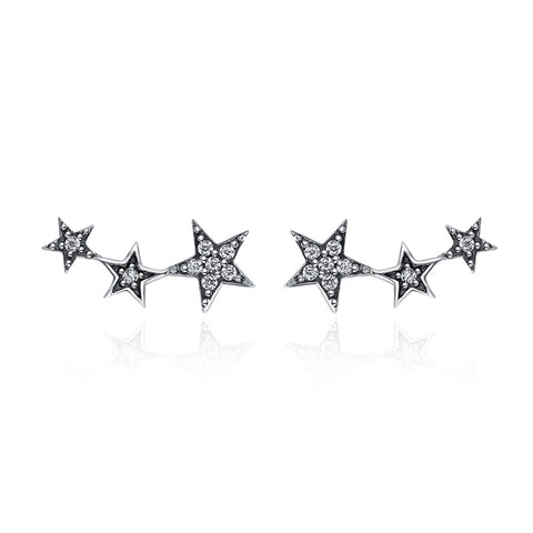 S925 Sterling Silver Five Pointed Star CZ Stud  Earrings For Girls