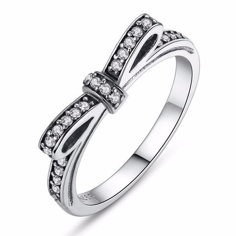 925 Sterling Silver Ribbon Bow Cubic Zirconia Fashion Rings for women