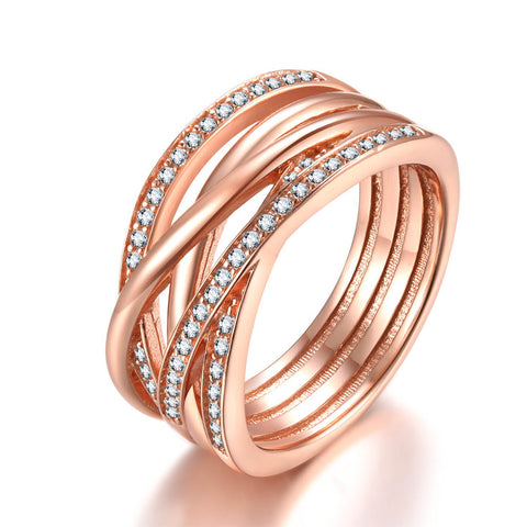 925 Silver Rose Gold Winding Bands Ring