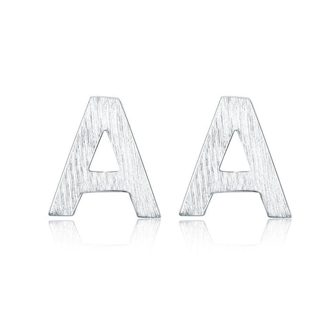Silver Letter A Stud Earrings