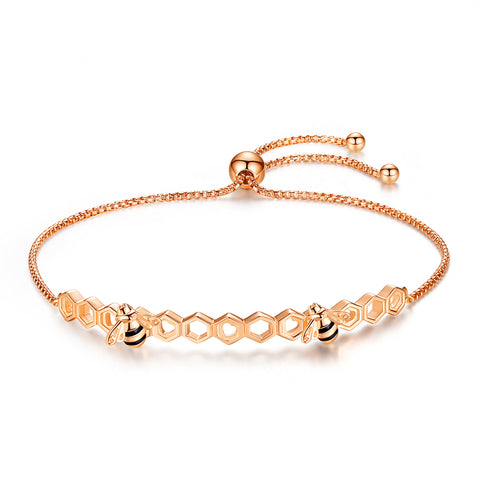 925 Sterling Silver  Rose Gold Plated Bee Adjustable Bracelets