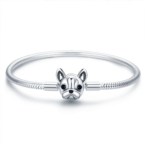 S925 Sterling Silver Cute French Bulldog Bracelets