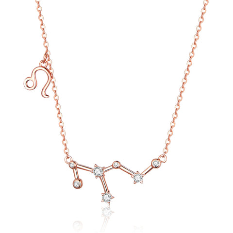 925 Sterling Silver Rose Gold Plated LEO Necklace With Modern Design