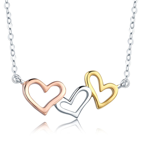 S925 Sterling Silver Gold Plated Heart To Heart  Necklace For Girls