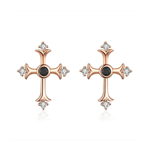 925 Sterling Silver Rose Gold Plated Cross Stud Earrings with Bling Cubic Zircons Gift for Women