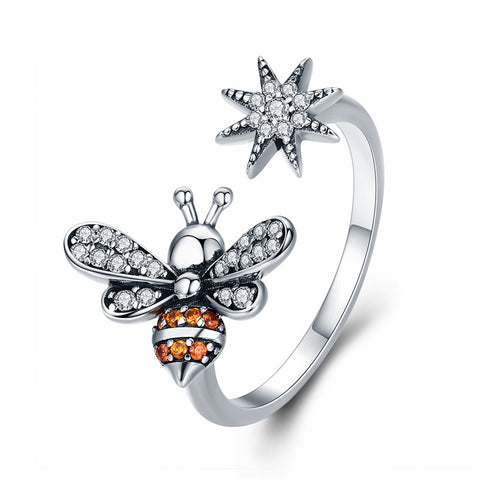 925 Sterling Silver Zircon Bee Open Fashion  Ring