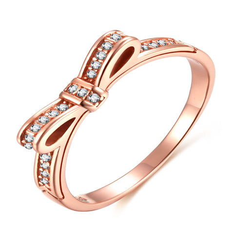 925 Silver Rose Gold Ribbon Bow Fashion Ring With High Quality