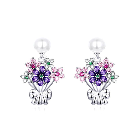 925 Sterling Silver  Dazzling CZ  Blooming Ear Clip Earrings Colorful Holding Flower Drop Earrings