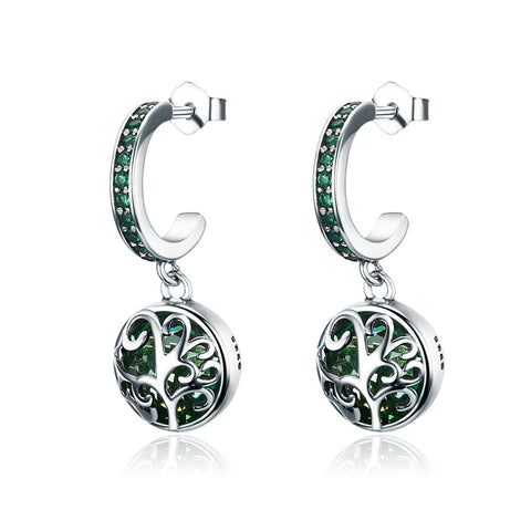 S925 Sterling Silver Zircon Tree Of Life  Drop Earrings For Girls