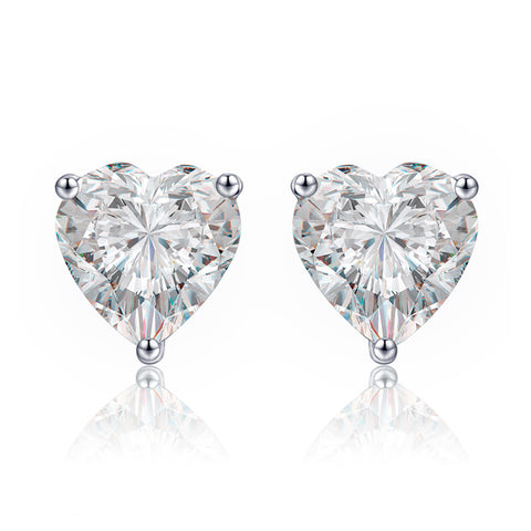 S925 Sterling Silver Fashion Heart Shape Zircon Stud Earrings  For Women