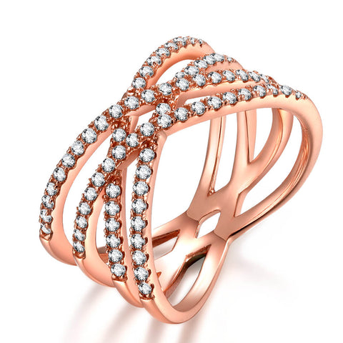 925 Silver Rose Gold Universe Lines Bands Ring