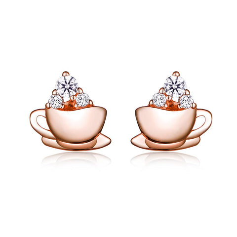 925 Sterling Silver Plated Rose Gold Zircon Stud Earrings  Coffee Earrings