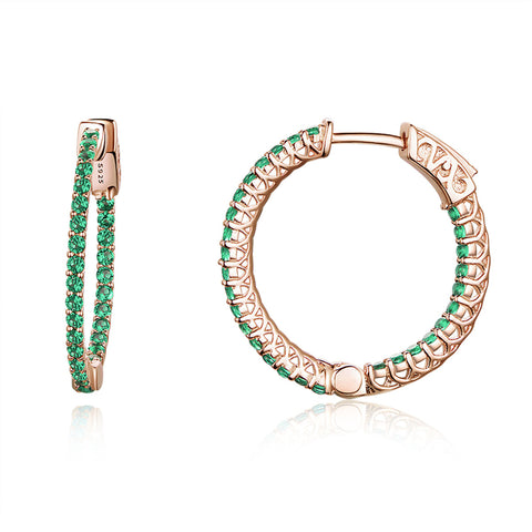 S925 Sterling Silver Rose Gold Plated Green Hoop Earrings