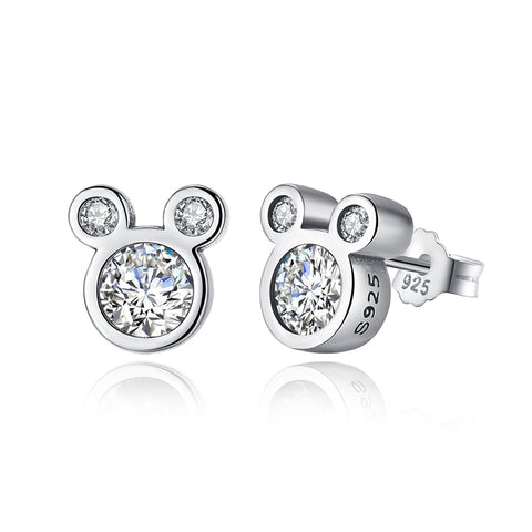 925 Sterling Silver  CZ Mickey Mouse Stud Earrings  For Girls