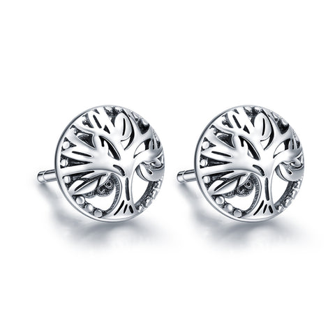 S925 Sterling Silver Fashion  Tree Of Life Stud Earrings